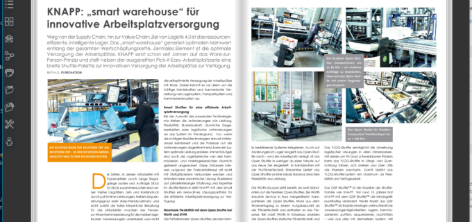 """KNAPP: """"smart warehouse"""" für innovative Arbeitsplatzversorgung"""