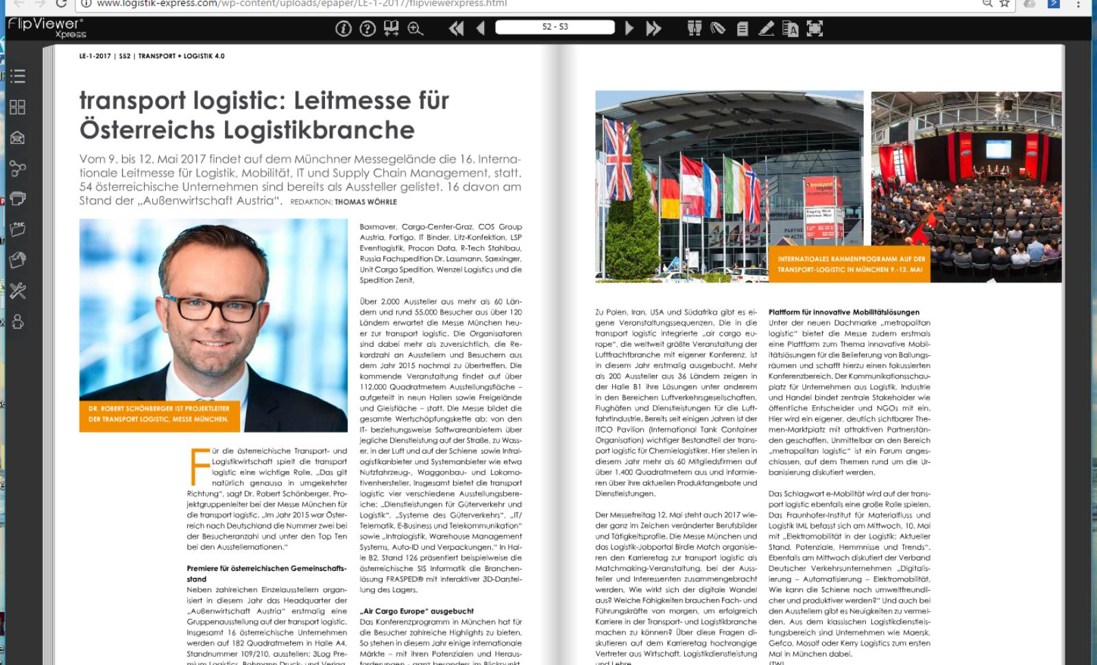 transport logistic München: Leitmesse für Österreichs Logistikbranche