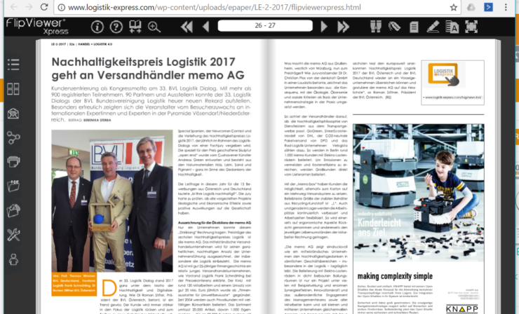 Nachhaltigkeitspreis Logistik 2017 geht an den Versandhändler memo AG