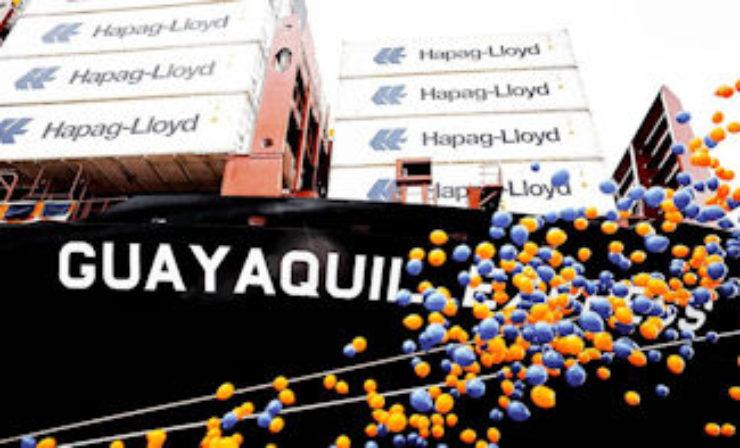 "Hapag-Lloyd tauft 10.500-TEU-Schiff ""Guayaquil Express"" in Hamburg"