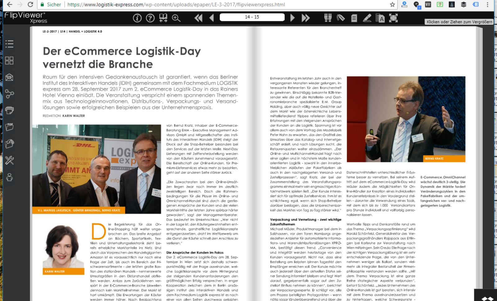 Der eCommerce Logistik-Day vernetzt die Branche – Wien, 28.09.2017