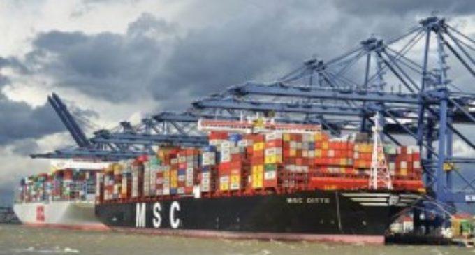 100th mega ship arrives at Felixstowe