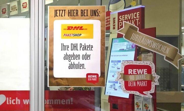Kooperation ausgebaut: Rewe-Filialen werden zu DHL-Paketshops