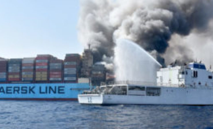 Crew evacuated after fire on container ship