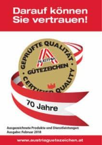 Ausgezeichnete Produkte und Dienstleistungen, Ausgabe: Februar 2018 mit Inhalten zu: Orientierungshilfe für KundInnen und AuftraggeberInnen mit einem hohen Qualitätsanspruch, Austria Gütezeichen im Überblick, Hinweise zur Nutzung, ausgezeichnete Betriebe uvm. Die Austria Gütezeichen sind ein Garant für ausgezeichnete Qualität.