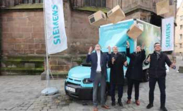 Siemens lässt mit Elektrofahrzeug im Stadtgebiet Nürnberg ausliefern