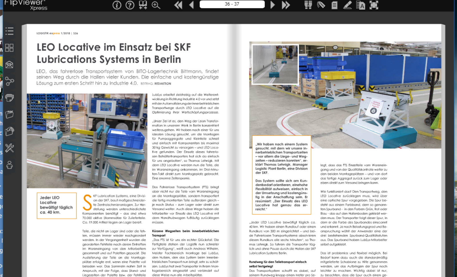 LEO Locative im Einsatz bei SKF Lubrications Systems in Berlin