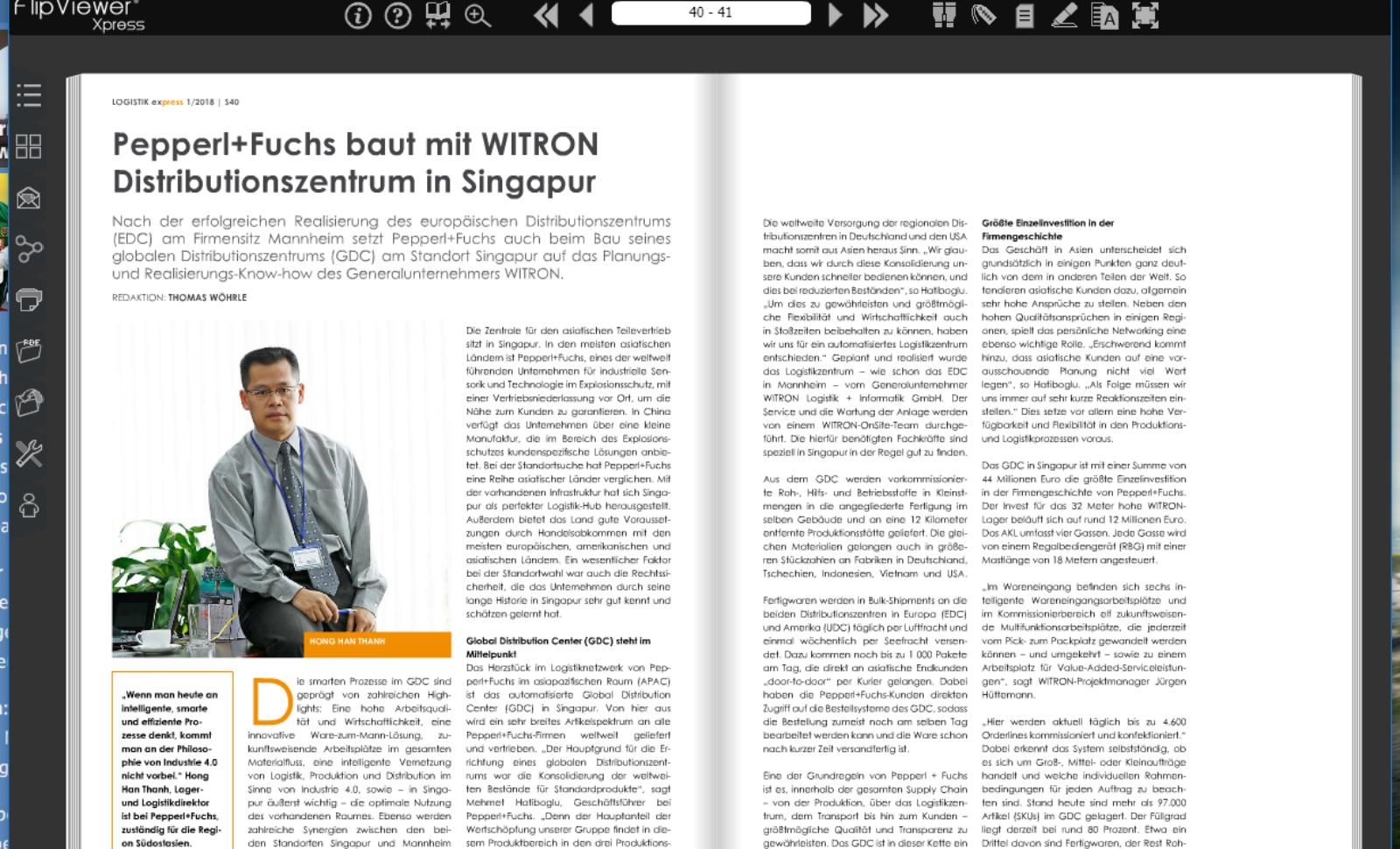 Pepperl+Fuchs baut mit WITRON globales Distributionszentrum in Singapur