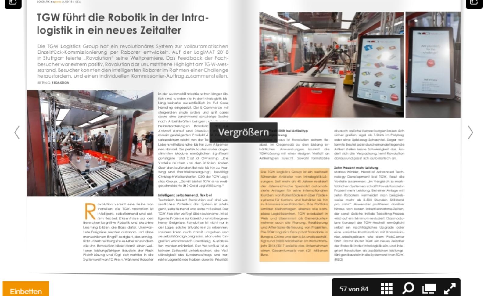 TGW führt die Robotik in der Intralogistik in ein neues Zeitalter