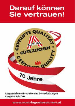 Austrian Gütezeichen Katalog 2018-2
