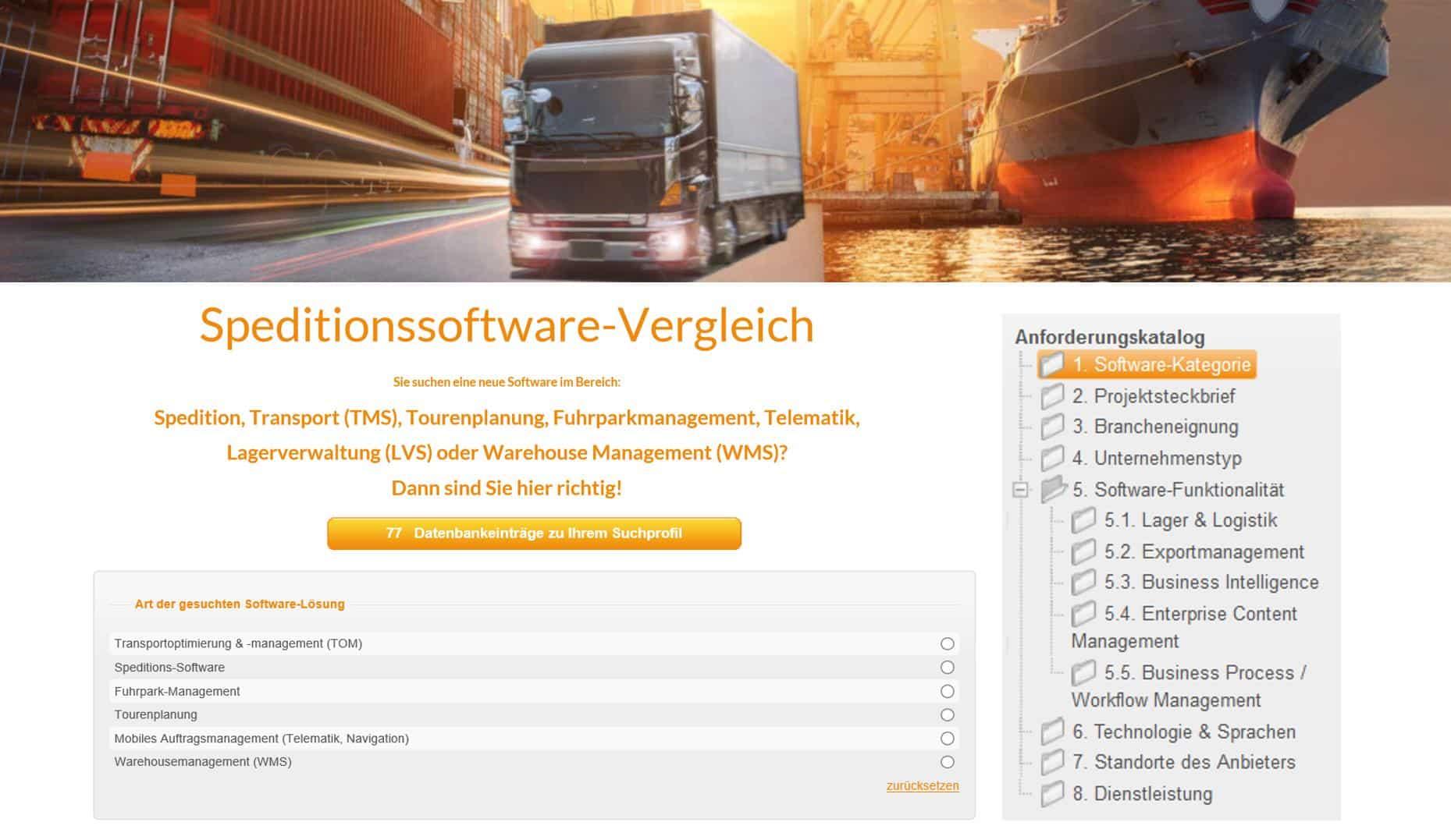 42 neue Anbieter im Bereich WMS-LVS auf www.speditionssoftware-vergleich.de