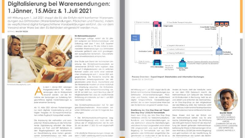 Digitalisierung bei Warensendungen: 1.Jänner, 15.März & 1.Juli 2021