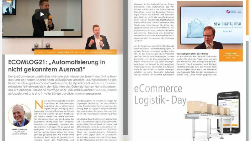 """ECOMLOG21: """"Automatisierung in nicht gekanntem Ausmaß"""""""